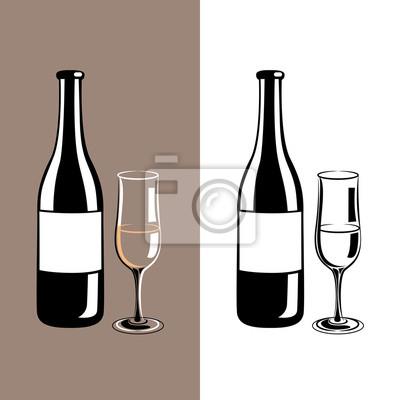 copa de vino y una botella de champán