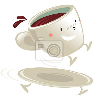 Copa del personaje de dibujos animados de café carteles para la ...