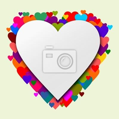 Corazón con corazones como un fondo