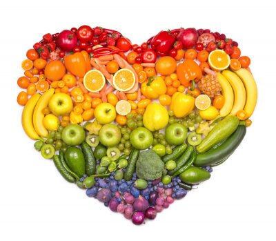 Póster Corazón del arco iris de frutas y verduras