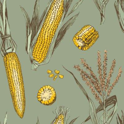 Póster Corn on the cob vintage design seamless pattern