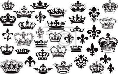 Coronas y flor de lis conjunto de vectores