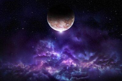 Póster Cosmos escena con el planeta, la nebulosa y las estrellas en el espacio