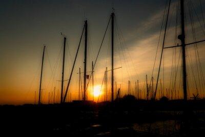 couché soleil  bateau voilier