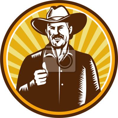 Cowboy Thumbs Up Sunburst Círculo de grabar en madera