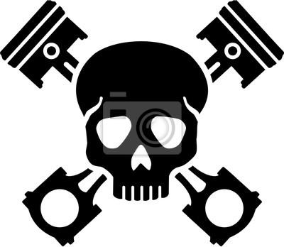 Cráneo con pistones cruzados