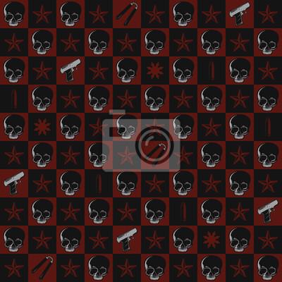 Póster Cráneo y arma patrón repetitivo Wallpaper
