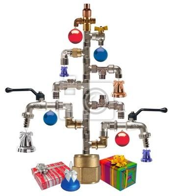 Cristmas árbol hecho de los accesorios y grifos