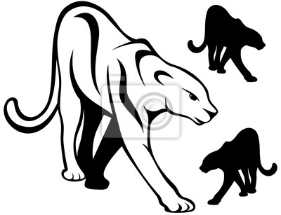 Crowling vector pantera carteles para la pared • pósters leona ...