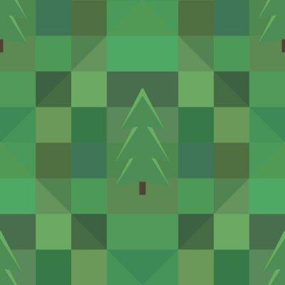 Póster Cuadrado verde patrón muchos árboles de fondo