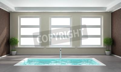 Cuarto de baño minimalista con bañera hundida en el suelo de ...