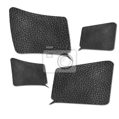 cuatro dimensiones de Speech Bubbles hecha de textura de cuero negro