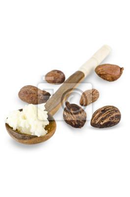 cuchara de karité crema de mantequilla y nueces de karité