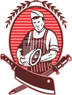 Cuchillo carnicero carne y sacapuntas