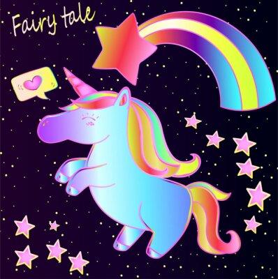 Póster Cuento de hadas - lindo unicornio de neón y arco iris con corazones y estrellas sobre un fondo oscuro degradado