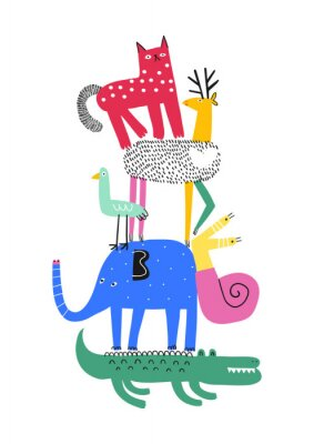 Póster Cute animals. T-shirt graphics for kids vector illustration. Fun cartoon animals pyramid greeting card.