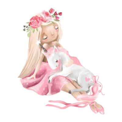 Póster Cute ballerina, ballet girl with flowers, floral wreath and baby unicorn