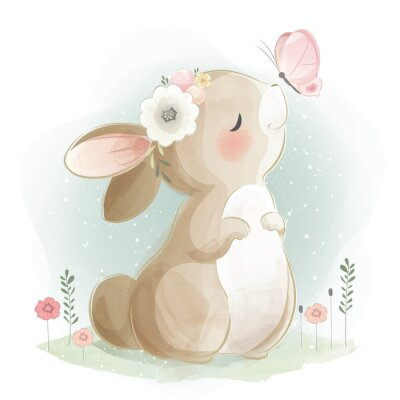 Póster Cute Bunny and the Butterfly