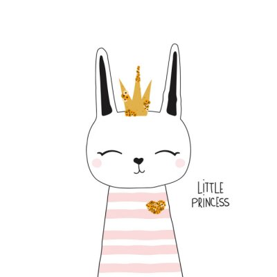 Póster Cute bunny princess with gold crown. Kids trendy graphic. Vector hand drawn illustration.