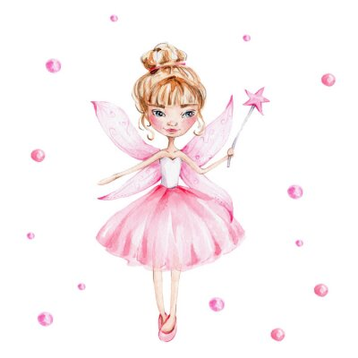 Póster Cute cartoon fairy with magic wand and wings; watercolor hand draw illustration; with white isolated background