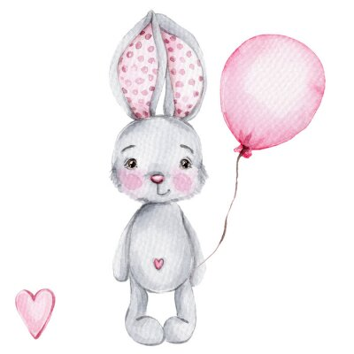 Póster Cute cartoon little bunny with pink balloon; watercolor hand draw illustration; with white isolated background