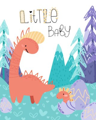 Póster Cute childish hand drawing. Prehistoric period. Vector scandinavian illustration. Sketch of jurassic reptiles. Cartoon dinosaurs, eggs, mountains. Template baby banner, greeting card, invitation