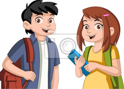 Cute Dibujos Animados Niños Con Libros Estudiantes Adolescentes