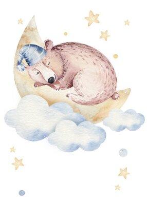 Póster Cute dreaming cartoon animal hand drawn watercolor illustration. Sleeping charecher kids nursery wear fashion design, baby shower invitation card.