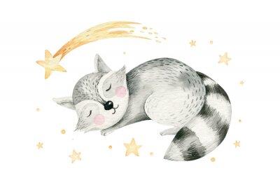 Póster Cute dreaming cartoon cartoon animal hand drawn watercolor illustration. Sleeping charecher kids nursery wear fashion design, baby shower invitation card.