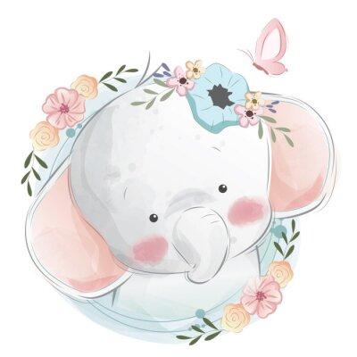 Póster Cute Elephant Portrait