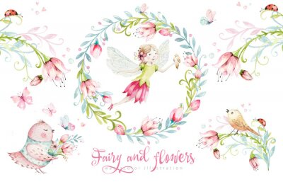Póster Cute Fairy character watercolor illustration on white background. Magic fantasy cartoon pink fairytale design. Baby girl birthday
