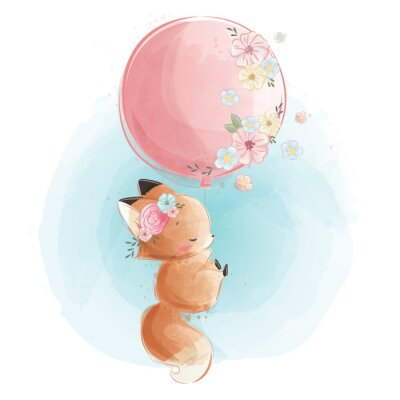 Póster Cute Fox Flying with Flowery Balloon