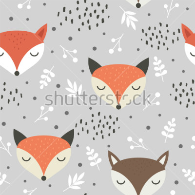 Póster Cute fox seamless pattern, wolf hand drawn forest background with flowers and dots, vector illustration