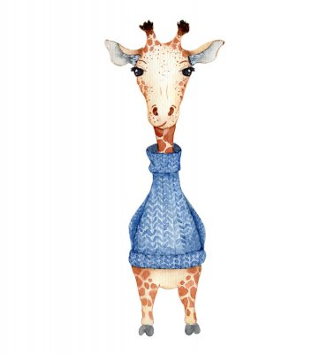 Póster Cute giraffe cartoon watercolor illustration animal