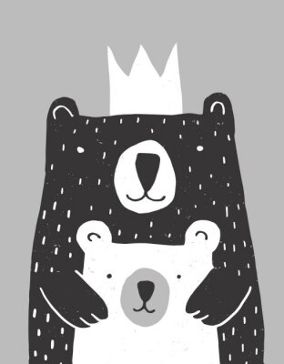 Póster Cute Hand Drawn Big Bear and Little Baby Bear Vector Illustration. Gender Neutral Colors Nursery Art for Card, Invitation, Father's or Mother's Day. Big Black Daddy or Mommy Bear with White Crown.