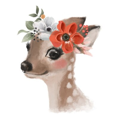 Póster Cute hand drawn deer, fawn in floral wreath, flowers bouquet, woodland watercolor animal portrait