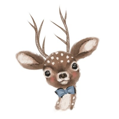 Póster Cute hand drawn deer, fawn with bow, woodland watercolor animal portrait