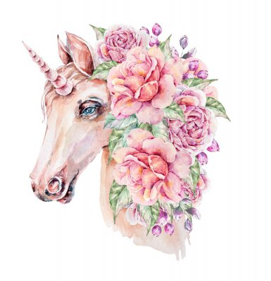 Póster Cute hand painted watercolor unicorn illustration. Lovely horse in floral wreath. Perfect for logo, wedding or greeting cards, print, pattern