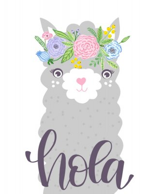 Póster Cute Lama face. Childish print for fabric, t-shirt, poster, card, baby shower.  Illustrtion