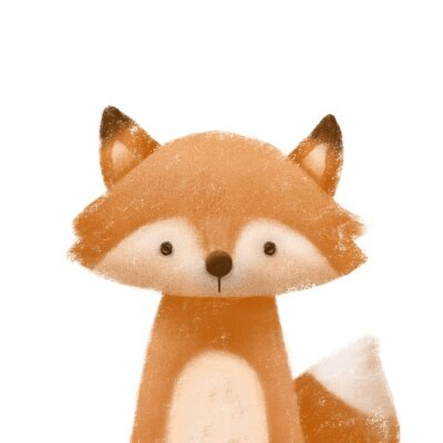Póster Cute little fox. Kids print or poster. Hand drawn illustration.