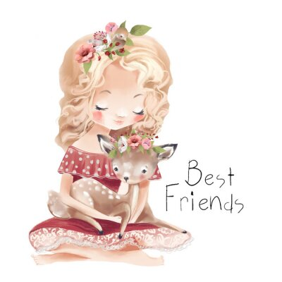 Póster Cute little girl with a deer, bird and flowers. Best friends watercolor illustration