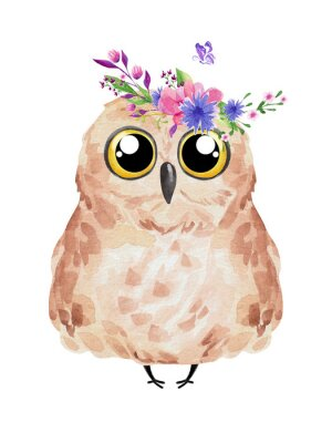 Póster Cute owl in floral wreath. Watercolor owl set