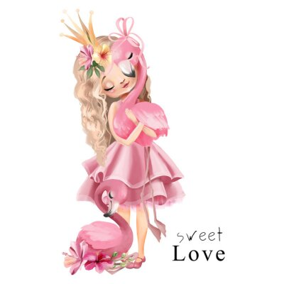 Póster Cute princess girl in the pink dress and gold crown with flamingo and flowers