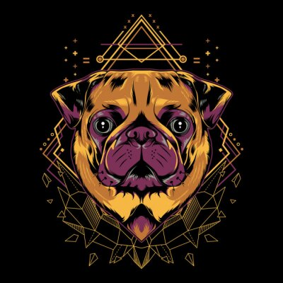 Póster Cute Pug Dog Vector Crystal Geometry Illustration in Black Background