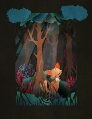 Póster Cute red fox sitting in the forest fairytale illustration, greeting card or poster design