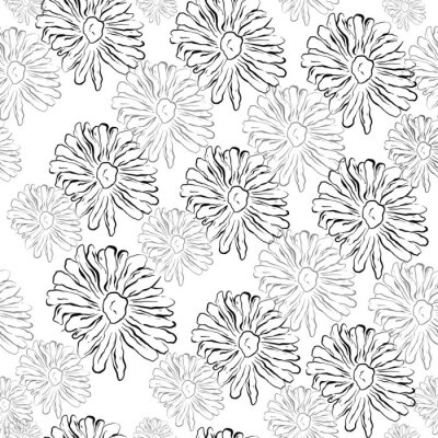 Póster Cute Repeat Daisy Wildflower Pattern background. Seamless floral pattern. White Daisy. Stylish repeating texture. Repeating texture. Black and White.fas