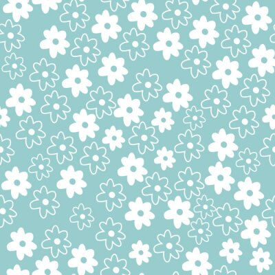 Póster Cute Repeat Daisy Wildflower Pattern with blue background. Seamless floral pattern. White Daisy. Stylish repeating texture. Repeating texture.