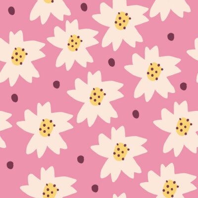 Póster Cute Repeat Daisy Wildflower Pattern with light pink background. Seamless floral pattern. White Daisy. Stylish repeating texture. Repeating texture.