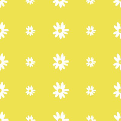Póster Cute Repeat Daisy Wildflower Pattern with light yellow background. Seamless floral pattern. White Daisy. Stylish repeating texture. Repeating texture.