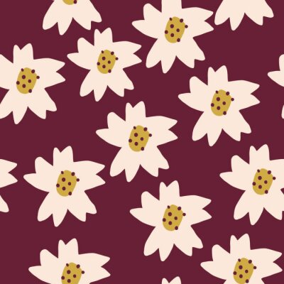 Póster Cute Repeat Daisy Wildflower Pattern with maroon background. Seamless floral pattern. White Daisy. Stylish repeating texture. Repeating texture.